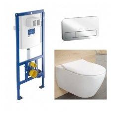 Villeroy & Boch komplektas: WC rėmas, chromo spalvos mygtukas ir klozetas Subway 2.0 DirectFlush su SlimSeat dangčiu