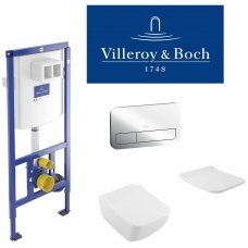 Villeroy & Boch potinkinis WC komplektas su VENTICELLO WC soft close dangčiu