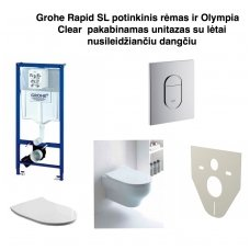 Grohe Rapid SL potinkinis rėmas ir Olympia Clear pakabinamas unitazas su lėtai nusileidžiančiu dangčiu
