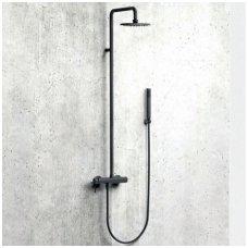 Virštinkinė dušo sistema Alpi Blue (balta/juoda/nikelis)
