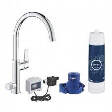 Virtuvės maišytuvas su vandens filtru Grohe BLUE PURE BAUCURVE STARTER KIT