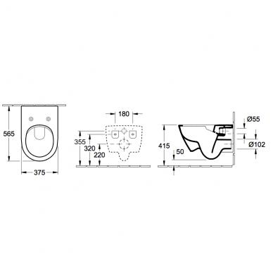 Villeroy & Boch Subway 2.0 pakabinamas Direct Flush WC su SlimSeat dangčiu, White Alpin 7