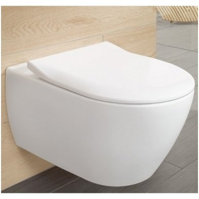 Villeroy & Boch Subway 2.0 pakabinamas Direct Flush WC su SlimSeat dangčiu, White Alpin