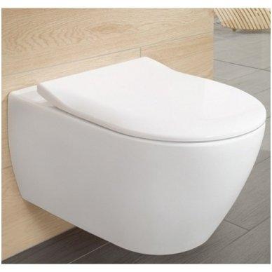 Villeroy & Boch Subway 2.0 pakabinamas Direct Flush WC su SlimSeat dangčiu, White Alpin