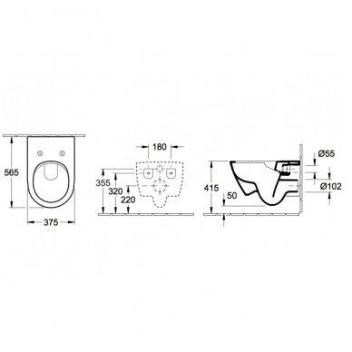 Villeroy&Boch pakabinamas unitazas Subway 2 Direct Flush, su plonu dangčiu ir C+ Ceramic Plus danga 7
