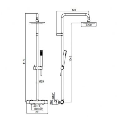 Virštinkinė termostatinė dušo sistema Alpi Blue chrome 2