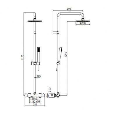 Virštinkinė termostatinė dušo sistema Alpi Blue (balta/juoda/nikelis) 4