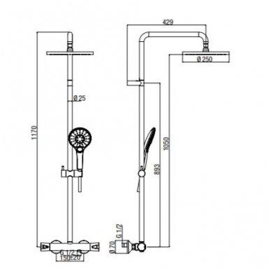 Virštinkinė termostatinė dušo sistema su apvalia dušo galva Alpi CIty Plus 4
