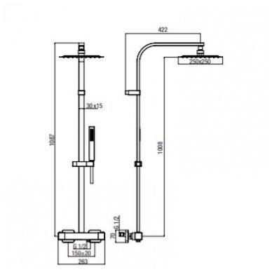 Virštinkinė termostatinė dušo sistema Alpi Una18 chrome 2