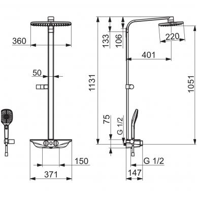 Virštinkinė termostatinė dušo sistema Oras Esteta Wellfit 7592-11 4
