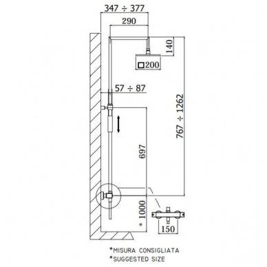 Virštinkinė termostatinė dušo sistema Paffoni 3