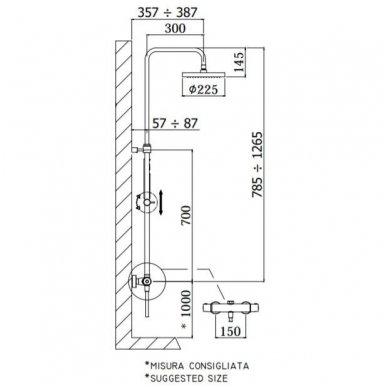 Virštinkinė termostatinė dušo sistema Paffoni Light 3