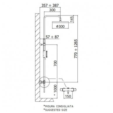 Virštinkinė termostatinė dušo sistema Paffoni Light (spalvų pasirinkimas) 3