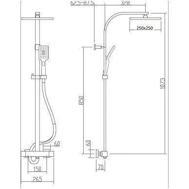 Virštinkinė termostatinė dušo sistema Sapho LATUS II BLACK 2