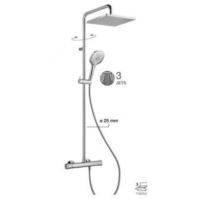 Virštinkinė termostatinė dušo sistema su kvadratine dušo galva Alpi City Plus