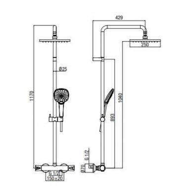 Virštinkinė termostatinė dušo sistema su kvadratine dušo galva Alpi City Plus 2