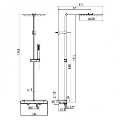 Virštinkinė termostatinė dušo sistema su lentynėle Alpi Naboo 3