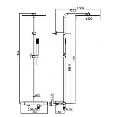 Virštinkinė termostatinė dušo sistema su lentynėle Alpi Nu 3