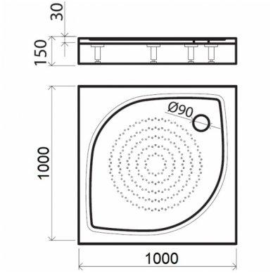 Vispool kvadratinis dušo padėklas KK-80/90/100 4