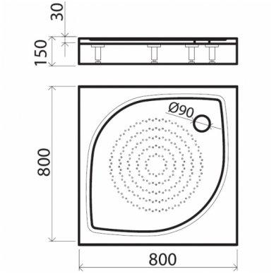 Vispool kvadratinis dušo padėklas KK-80/90/100 2