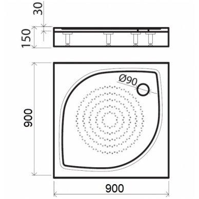 Vispool kvadratinis dušo padėklas KK-80/90/100 3