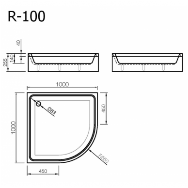 Vispool Relax baltas padėklas R-100 2
