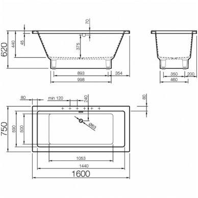 Vispool vonia Nordica 1600x750 mm iš Marmoryl medžiagos 4