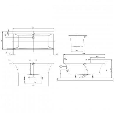 Villeroy & Boch vonia iš Quaryl medžiagos Squaro Edge 12 170x75 4