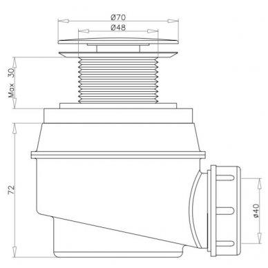 Vonios sifonas be persipylimo Omnires WB01X BI 2