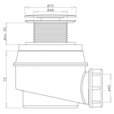 Vonios sifonas be persipylimo WB01XBL (juodas matinis) 2
