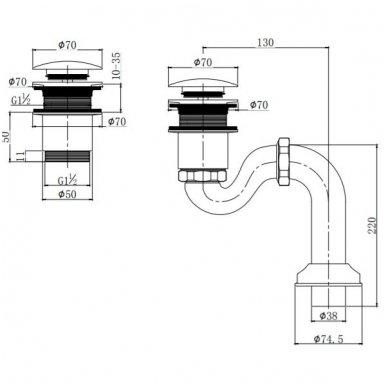 Vonios sifonas Omnires W10/BR 2