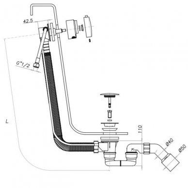Vonios sifonas su užpildymu ir persipylimu Omnires, juodi dangteliai 2