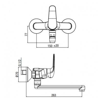 Vonios/dušo maišytuvas su ilgu snapu Alpi City Plus 2