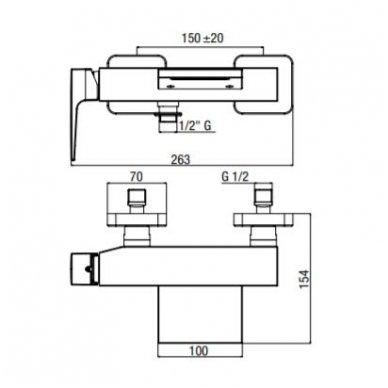 Vonios/dušo maišytuvas su snapu (kaskada) Alpi Una18 5