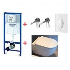 WC rėmo Grohe, mygtuko Skate Air ir klozeto Alice Ceramica Unica Rimless su Slim Softclose dangčiu komplektas