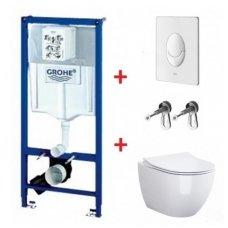 WC rėmo Grohe, mygtuko Skate Air ir klozeto Opoczno Urban Harmony Rimless su plonu lėtaeigiu dangčiu komplektas