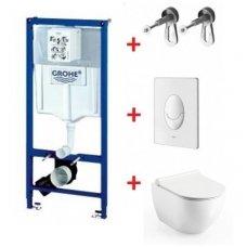 WC rėmo Grohe, mygtuko Skate Air ir klozeto Ravak Uni Chrome RimOff su plonu lėtaeigiu dangčiu komplektas