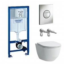 WC rėmo Grohe , mygtuko Nova Cosmopolitan ir klozeto Laufen Pro New Rimless su plonu lėtaeigiu dangčiu komplektas