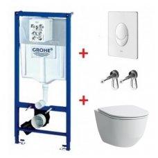 WC rėmo Grohe, mygtuko Skate Air ir klozeto Laufen Pro New Rimless su plonu lėtaeigiu dangčiu komplektas