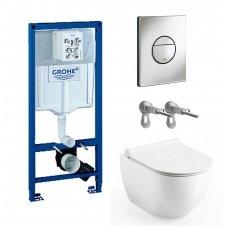 WC rėmo Grohe, mygtuko Nova Cosmopolitan ir klozeto Ravak Uni Chrome RimOff su plonu lėtaeigiu dangčiu komplektas
