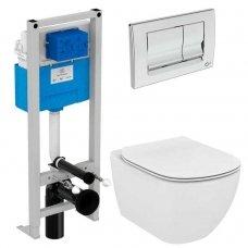 WC rėmo Ideal Standard Prosys ir pakabinamo klozeto Tesi Aquablade su plonu lėtaeigiu dangčiu komplektas
