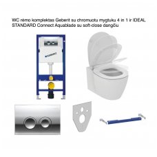 WC rėmo komplektas Geberit su chromuotu mygtuku 4 in 1 ir IDEAL STANDARD Connect Aquablade su soft-close dangčiu