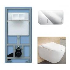 WC rėmo Sanit, chromuoto mygtuko ir klozeto Villeroy & Boch Subway 2.0 DirectFlush su plonu lėtaeigiu dangčiu komplektas