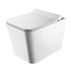 WC rėmo Sanit su aukso spalvos mygtuku ir pakabinamo klozeto Omnires Boston su plonu lėtaeigiu dangčiu komplektas
