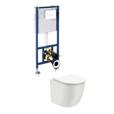 WC rėmo Sanit su baltu mygtuku ir klozeto Omnires Ottawa Rimless su dangčiu komplektas