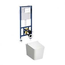 WC rėmo Sanit su baltu mygtuku ir pakabinamo klozeto Omnires Boston su plonu lėtaeigiu dangčiu komplektas