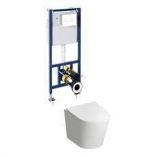 WC rėmo Sanit su baltu mygtuku ir pakabinamo klozeto Omnires Tampa su plonu lėtaeigiu dangčiu komplektas