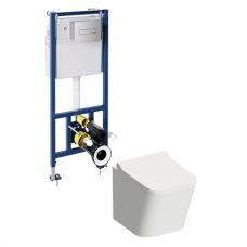 WC rėmo Sanit su chromo mygtuku ir klozeto Omnires Fontana Rimless su dangčiu komplektas