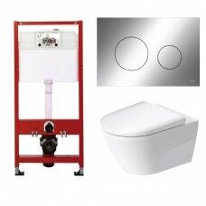 WC rėmo Tece, chromuoto mygtuko Loop ir klozeto Duravit D-Neo rimless komplektas