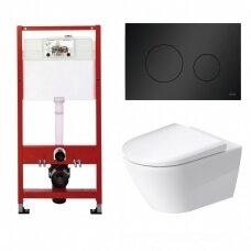 WC rėmo Tece, juodo mygtuko Loop ir klozeto Duravit D-Neo rimless komplektas